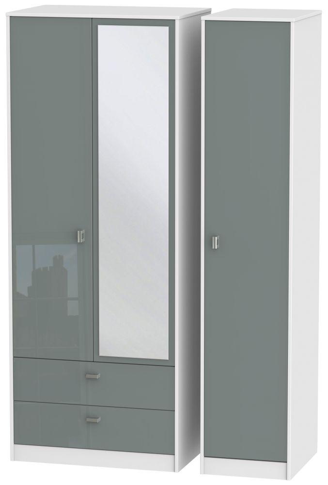 Dubai High Gloss Grey and White 3 Door 2 Left Drawer Tall Mirror Triple Wardrobe