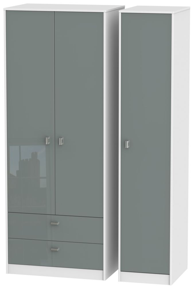 Dubai High Gloss Grey and White 3 Door 2 Drawer Tall Triple Wardrobe