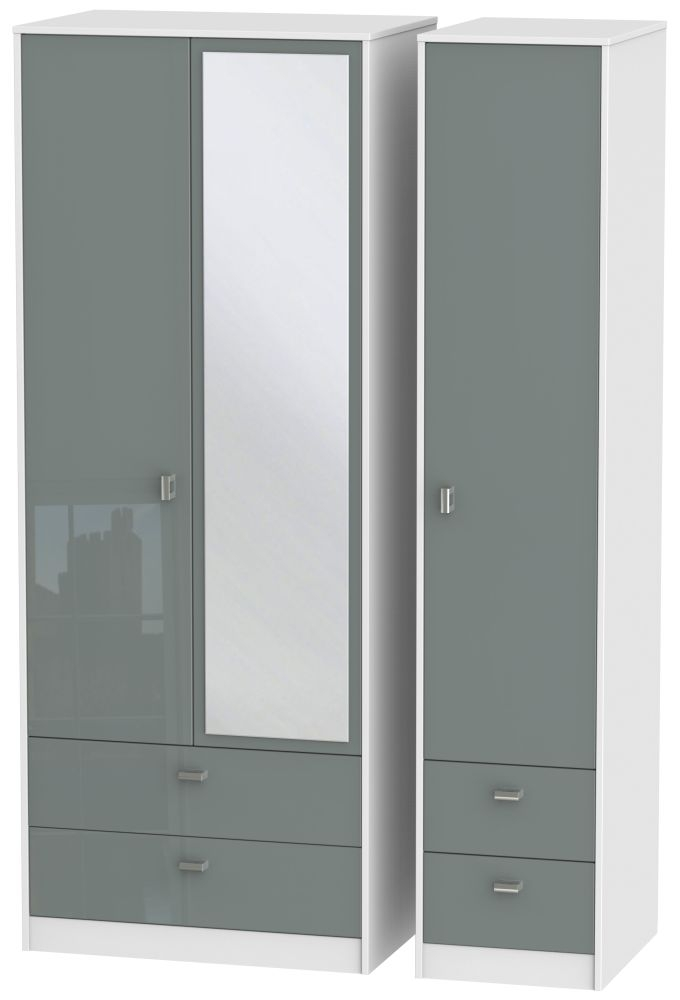 Dubai 3 Door 4 Drawer Combi Wardrobe - High Gloss Grey and White