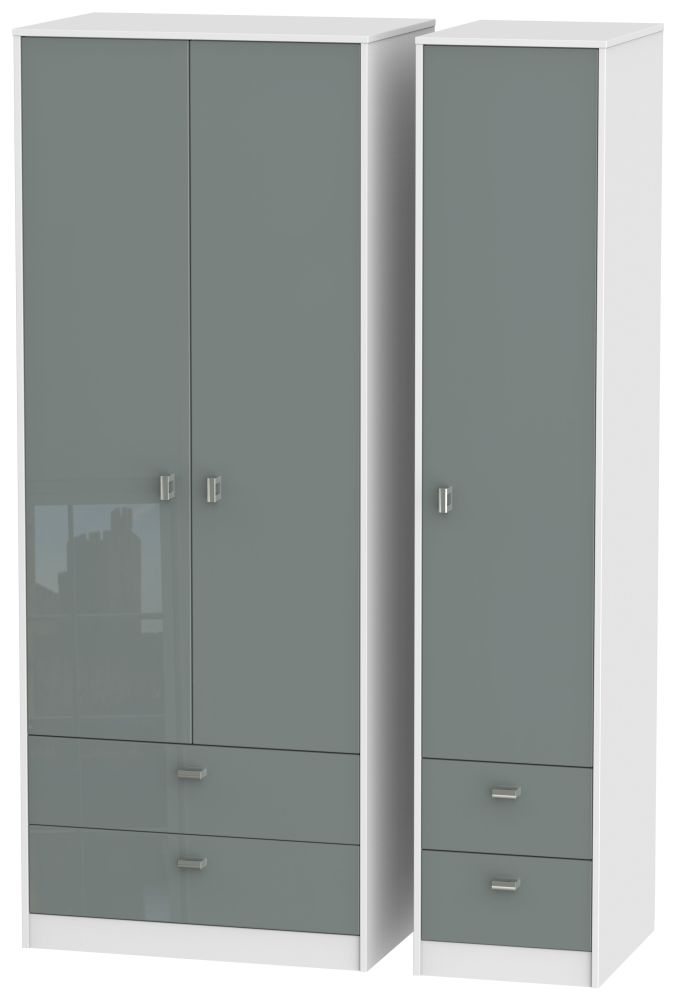 Dubai High Gloss Grey and White 3 Door 4 Drawer Tall Triple Wardrobe