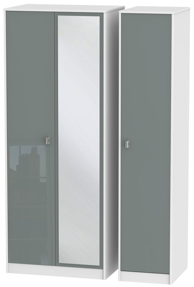 Dubai 3 Door Mirror Wardrobe - High Gloss Grey and White