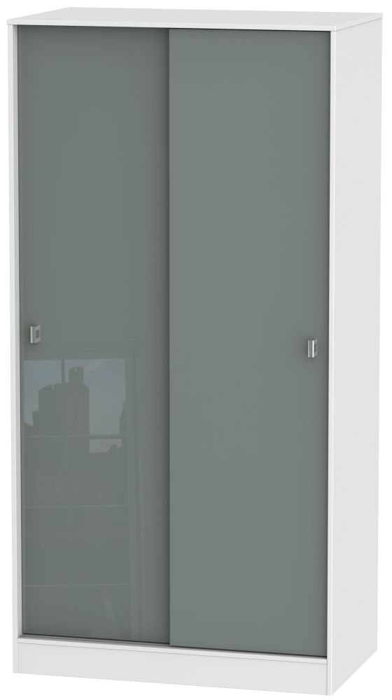 Dubai 2 Door Wide Sliding Wardrobe - High Gloss Grey and White