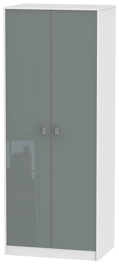 Dubai High Gloss Grey and White 2 Door Tall Plain Double Wardrobe