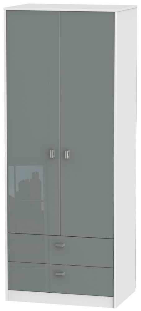 Dubai 2 Door 2 Drawer Wardrobe - High Gloss Grey and White