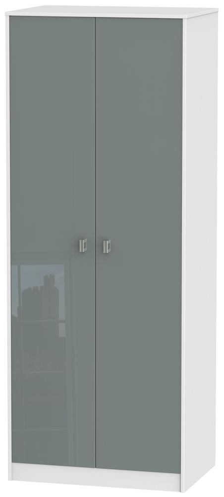 Dubai 2 Door Hanging Wardrobe - High Gloss Grey and White