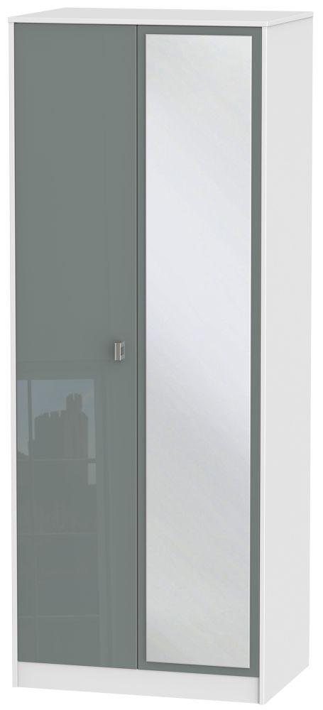 Dubai 2 Door Mirror Wardrobe - High Gloss Grey and White