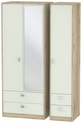 Dubai 3 Door 4 Drawer Combi Wardrobe - Kaschmir Matt and Bordeaux Oak