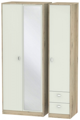 Dubai 3 Door 2 Right Drawer Combi Wardrobe - Kaschmir Matt and Bordeaux Oak