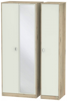 Dubai 3 Door Mirror Wardrobe - Kaschmir Matt and Bordeaux Oak