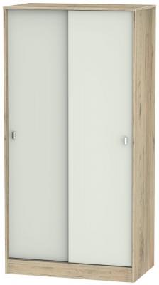 Dubai 2 Door Sliding Wardrobe - Kaschmir Matt and Bordeaux Oak