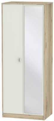 Dubai 2 Door Mirror Wardrobe - Kaschmir Matt and Bordeaux Oak