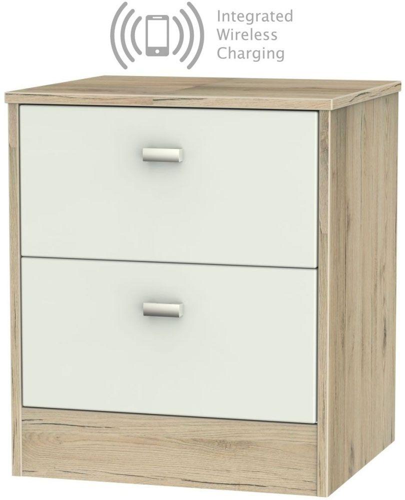 Dubai 2 Drawer Bedside Cabinet with Integrated Wireless Charging - Kaschmir Matt and Bordeaux Oak