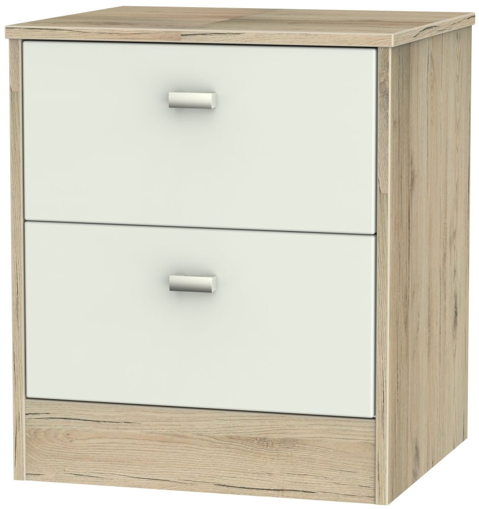 Dubai Kaschmir Matt and Bordeaux Oak Bedside Cabinet - 2 Drawer Locker