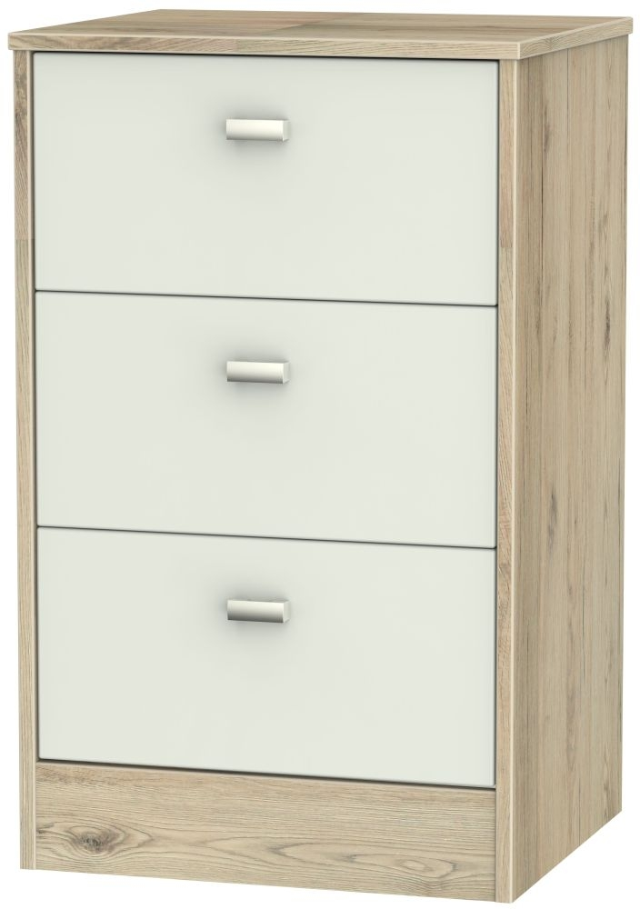 Dubai 3 Drawer Bedside Cabinet - Kaschmir Matt and Bordeaux Oak