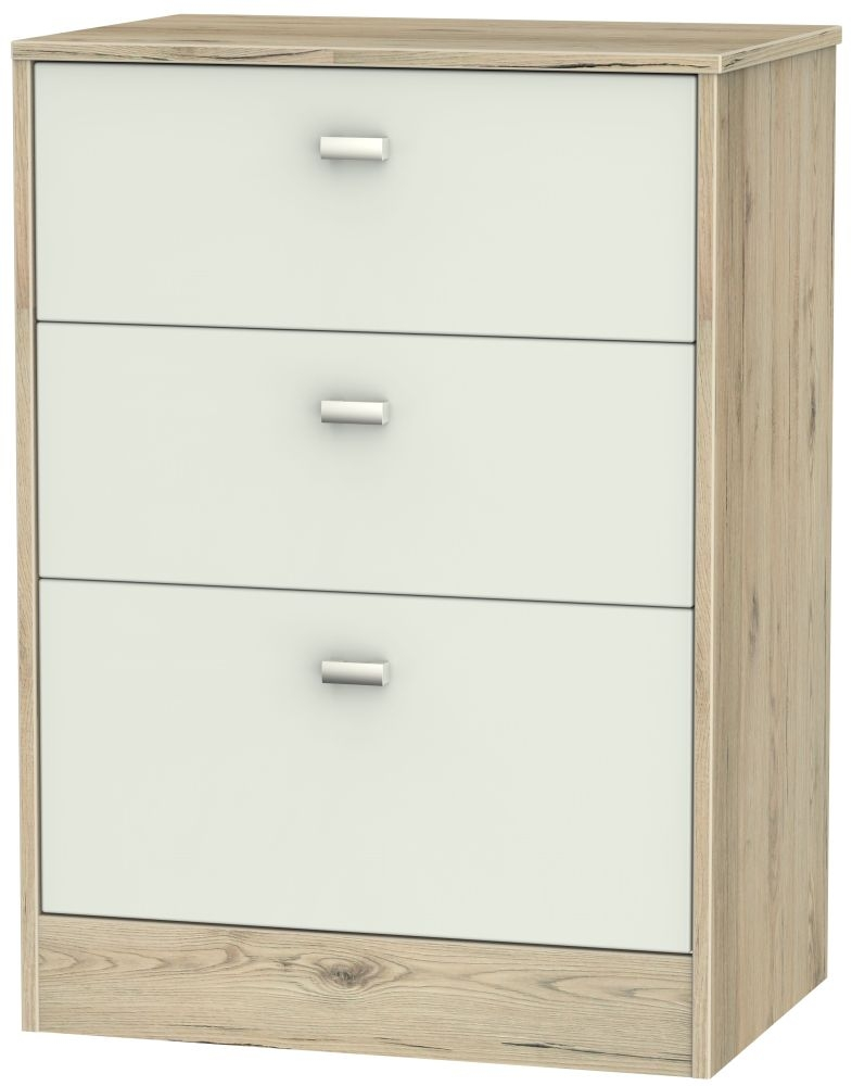 Dubai 3 Drawer Midi Chest - Kaschmir Matt and Bordeaux Oak