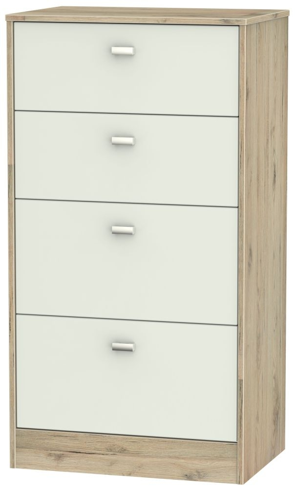 Dubai 4 Drawer Midi Chest - Kaschmir Matt and Bordeaux Oak