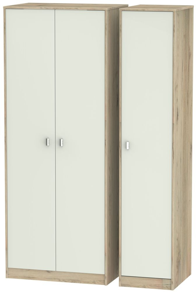 Dubai 3 Door Wardrobe - Kaschmir Matt and Bordeaux Oak