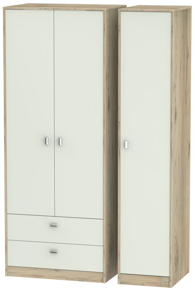 Dubai Kaschmir Matt and Bordeaux Oak 3 Door 2 Drawer Tall Triple Wardrobe