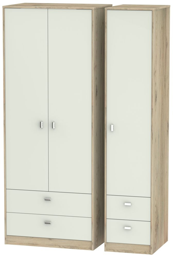 Dubai Kaschmir Matt and Bordeaux Oak 3 Door 4 Drawer Tall Triple Wardrobe