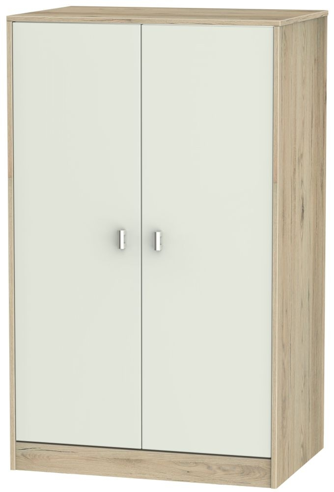 Dubai 2 Door Midi Wardrobe - Kaschmir Matt and Bordeaux Oak