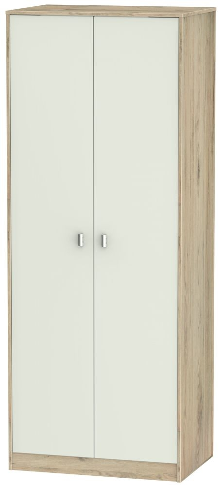 Dubai 2 Door Wardrobe - Kaschmir Matt and Bordeaux Oak