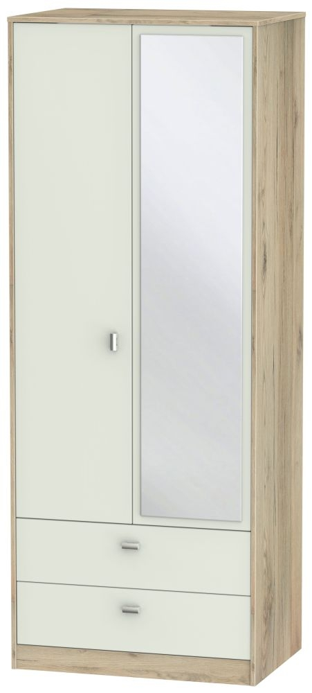 Dubai 2 Door Combi Wardrobe - Kaschmir Matt and Bordeaux Oak