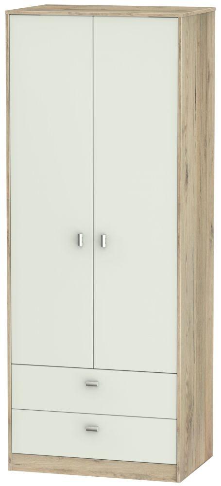 Dubai 2 Door 2 Drawer Wardrobe - Kaschmir Matt and Bordeaux Oak