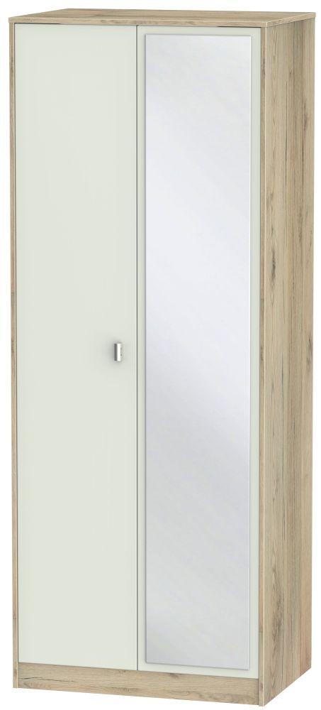 Dubai 2 Door Mirror Wardrobe - Kaschmir Matt and Bordeaux Oak