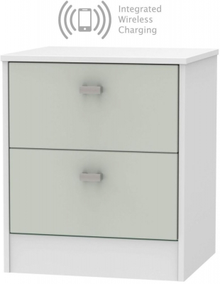 Dubai 2 Drawer Bedside Cabinet with Integrated Wireless Charging - Kaschmir Matt and White