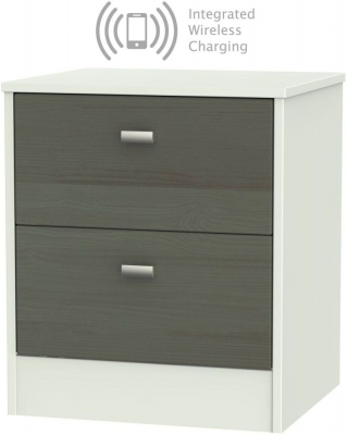 Dubai 2 Drawer Bedside Cabinet with Integrated Wireless Charging - Rustic Slate and Kaschmir Matt