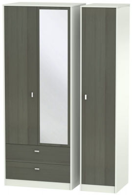 Dubai 3 Door 2 Left Drawer Combi Wardrobe - Rustic Slate and Kaschmir Matt