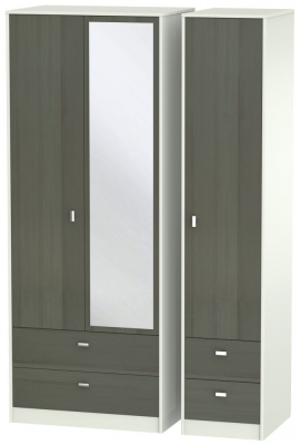 Dubai 3 Door 4 Drawer Combi Wardrobe - Rustic Slate and Kaschmir Matt