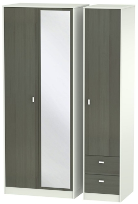 Dubai 3 Door 2 Right Drawer Combi Wardrobe - Rustic Slate and Kaschmir Matt