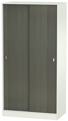 Dubai 2 Door Sliding Wardrobe - Rustic Slate and Kaschmir Matt