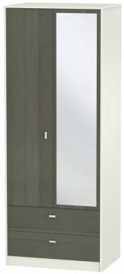 Dubai 2 Door Combi Wardrobe - Rustic Slate and Kaschmir Matt