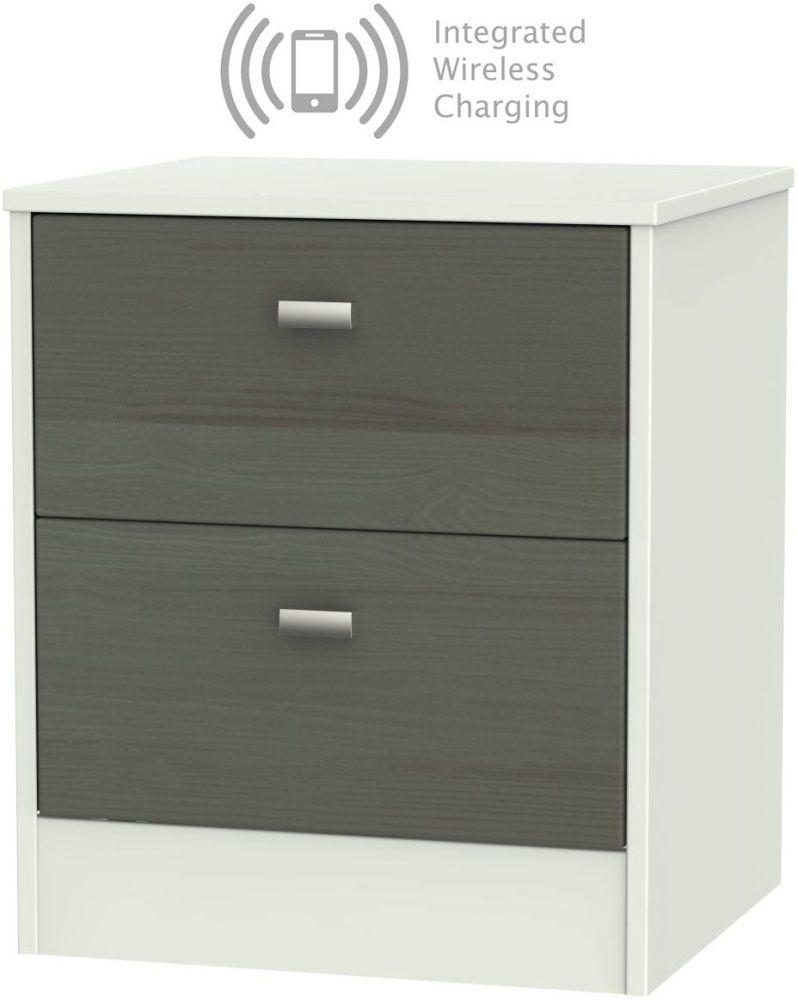 Dubai 2 Drawer Bedside Cabinet with Integrated Wireless Charging - Rustic Slate and Kaschmir Matt
