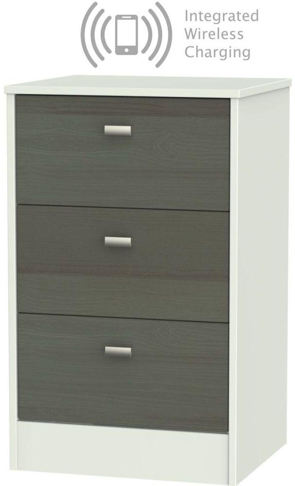 Dubai 3 Drawer Bedside Cabinet with Integrated Wireless Charging - Rustic Slate and Kaschmir Matt