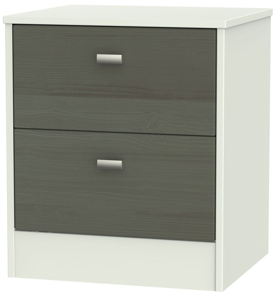 Dubai 2 Drawer Bedside Cabinet - Rustic Slate and Kaschmir Matt
