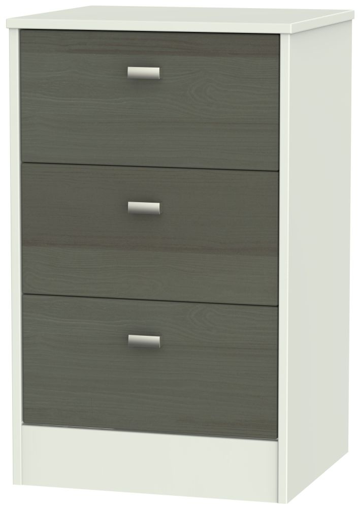 Dubai 3 Drawer Bedside Cabinet - Rustic Slate and Kaschmir Matt