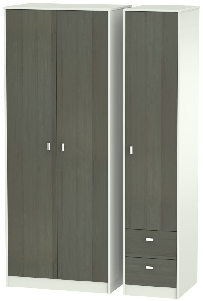 Dubai 3 Door 2 Right Drawer Wardrobe - Rustic Slate and Kaschmir Matt