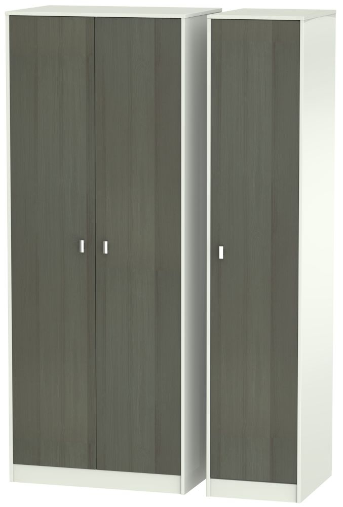 Dubai Rustic Slate and Kaschmir Matt 3 Door Tall Plain Triple Wardrobe