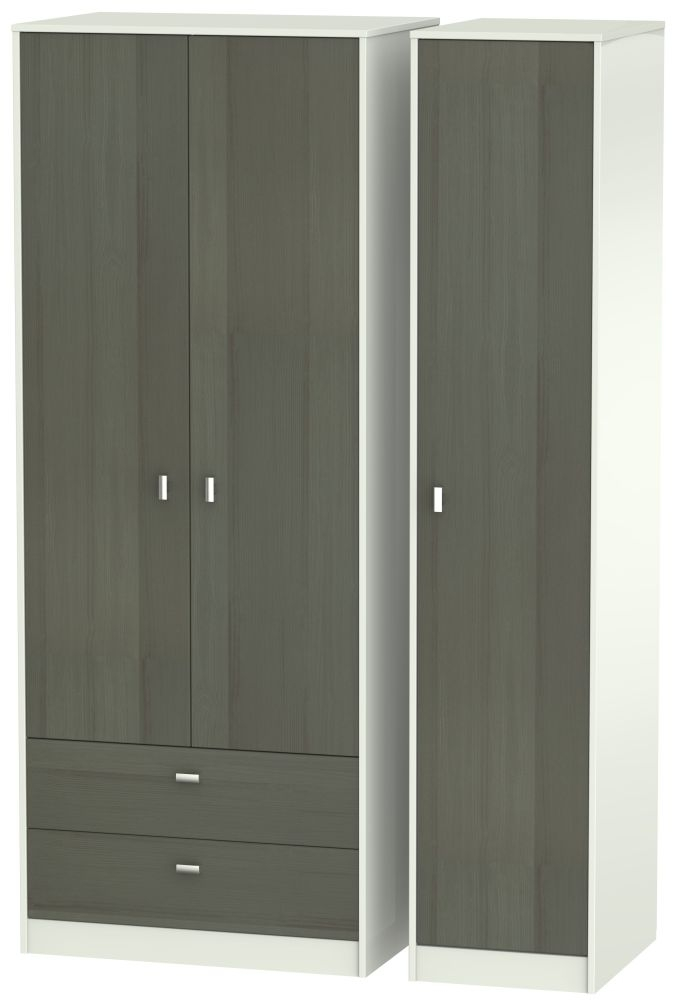Dubai 3 Door 2 Left Drawer Wardrobe - Rustic Slate and Kaschmir Matt