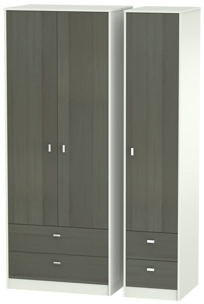 Dubai 3 Door 4 Drawer Wardrobe - Rustic Slate and Kaschmir Matt