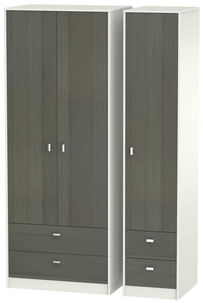 Dubai Rustic Slate and Kaschmir Matt 3 Door 4 Drawer Tall Triple Wardrobe