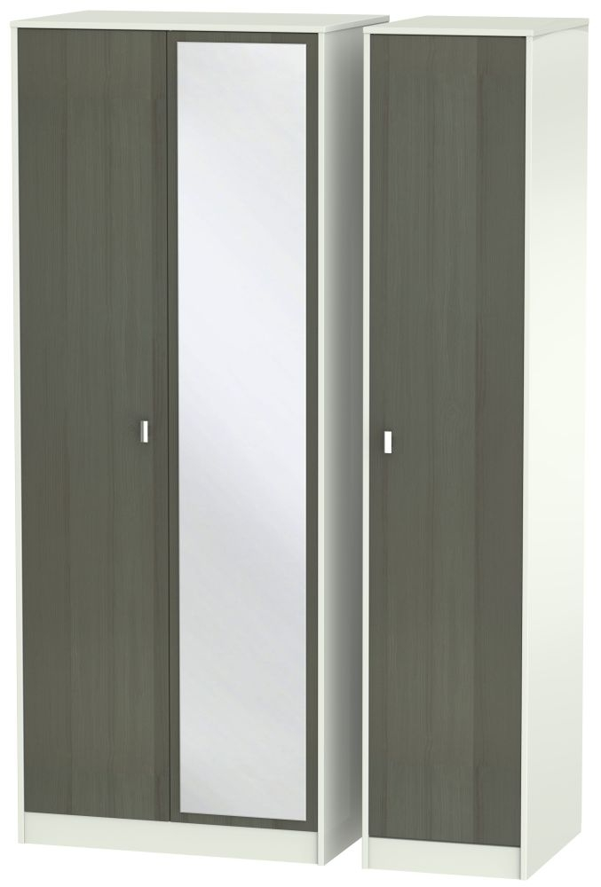 Dubai 3 Door Mirror Wardrobe - Rustic Slate and Kaschmir Matt