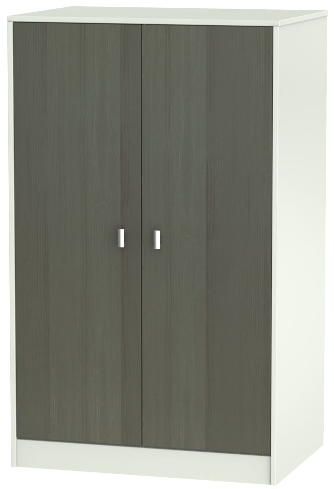 Dubai 2 Door Midi Wardrobe - Rustic Slate and Kaschmir Matt