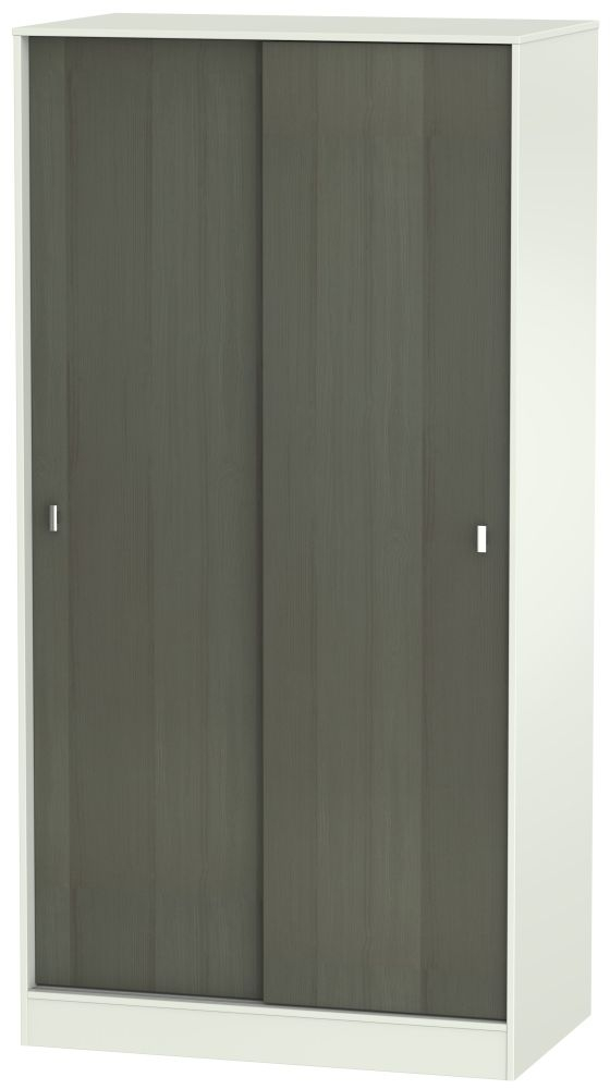 Dubai Rustic Slate and Kaschmir Matt Sliding Wardrobe - 100cm Wide