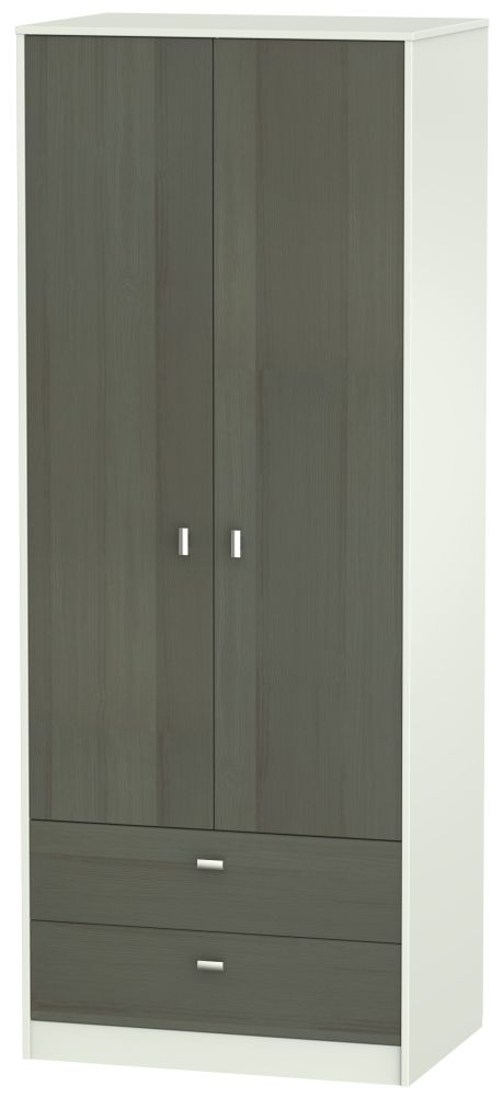 Dubai 2 Door 2 Drawer Wardrobe - Rustic Slate and Kaschmir Matt