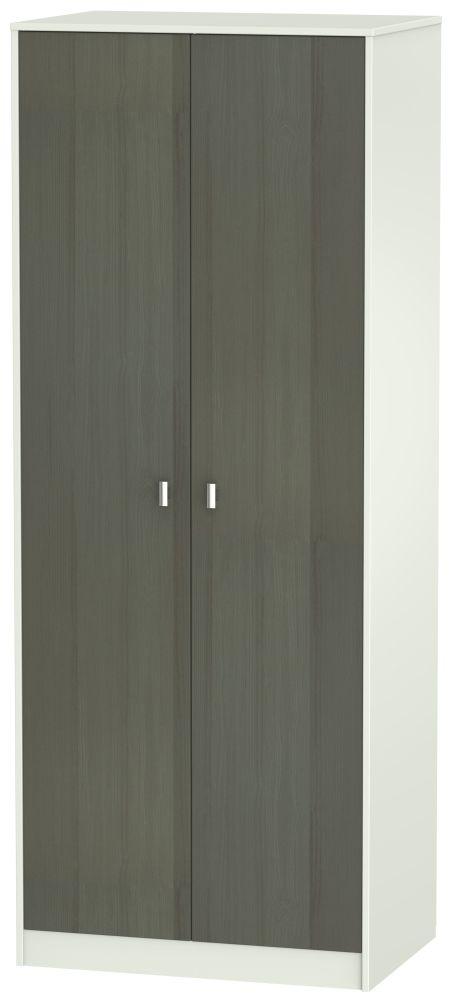 Dubai 2 Door Hanging Wardrobe - Rustic Slate and Kaschmir Matt