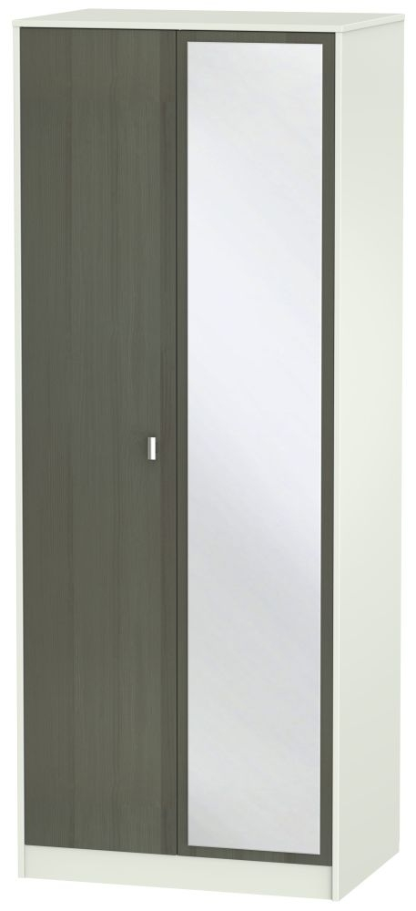 Dubai 2 Door Mirror Wardrobe - Rustic Slate and Kaschmir Matt